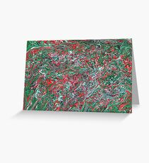 Green and Red paisley marbled  Greeting Card