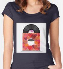 heart vinil Women's Fitted Scoop T-Shirt