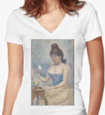Georges Seurat - Young Woman Powdering Herself (1889) Women's Fitted V-Neck T-Shirt