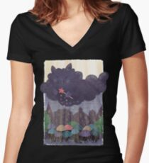 Cloudy Cat Women's Fitted V-Neck T-Shirt