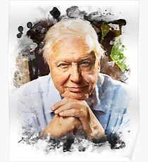 David Attenborough Watercolour Poster