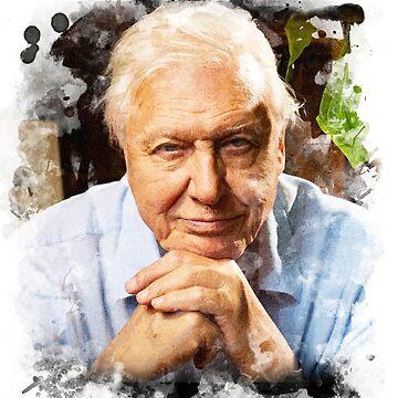 David Attenborough Watercolour by JDempzz