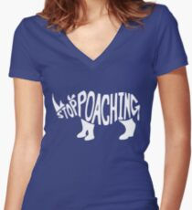 Stop Poaching Women's Fitted V-Neck T-Shirt