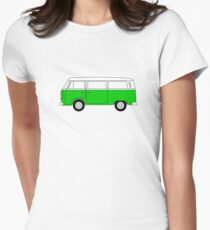 VW Type 2 Green Womens Fitted T-Shirt