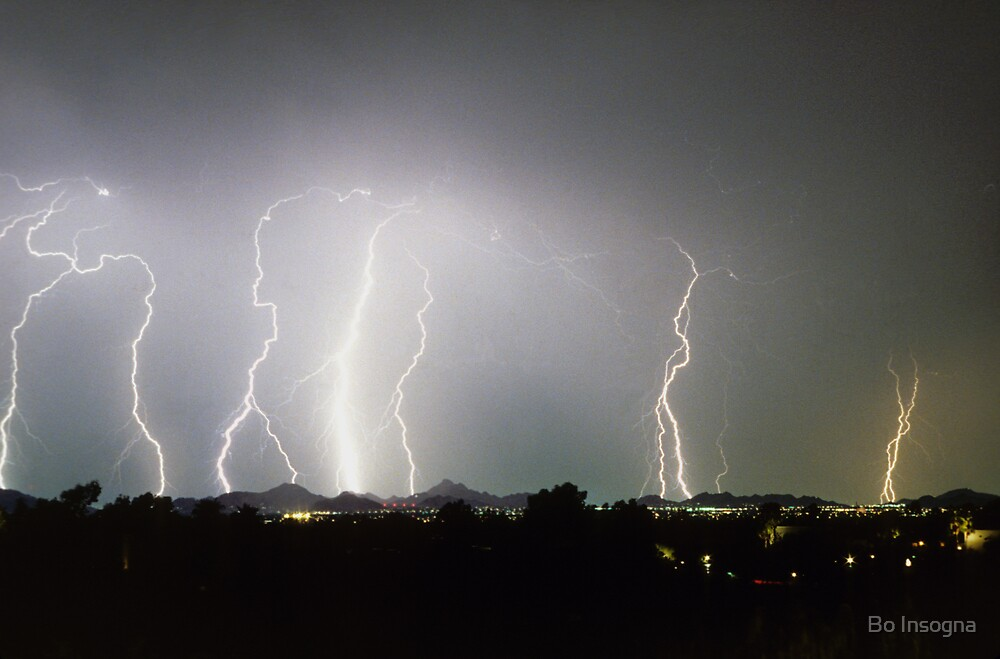 View of Monsoon Lightning Storm from Pinnacle Peak by Bo Insogna