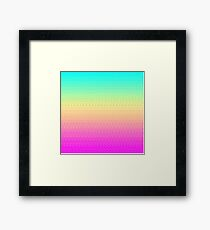 16 Bit Pixelart Bright Rainbow Color Fade Cute Nerdy Framed Print