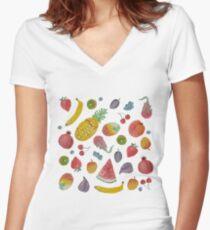 Watercolour Fruit Women's Fitted V-Neck T-Shirt