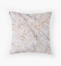 Rose gold diamond confetti on marble Throw Pillow