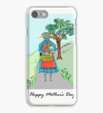 Happy Mother's Day, Momma Cat and Kittens Illustration iPhone Case/Skin