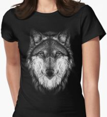 Wolf face Women's Fitted T-Shirt