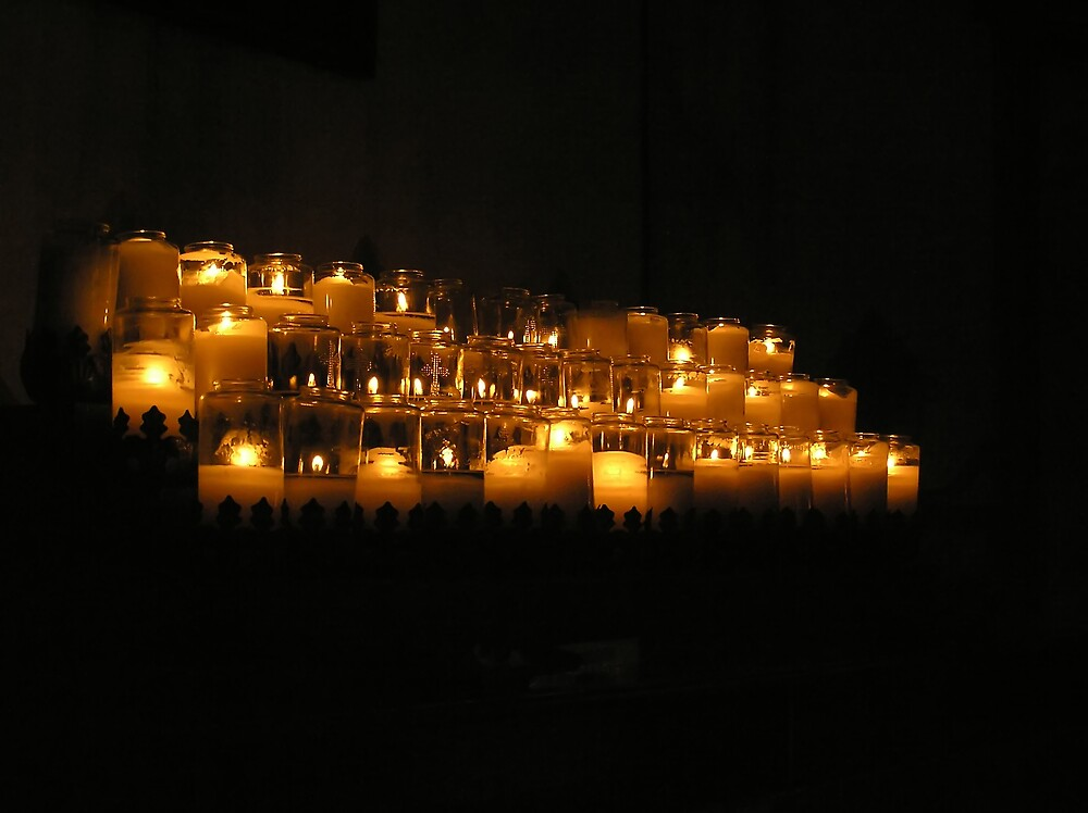 Candles in the Chapel at Mission San Luis Rey by Chuck Cannova