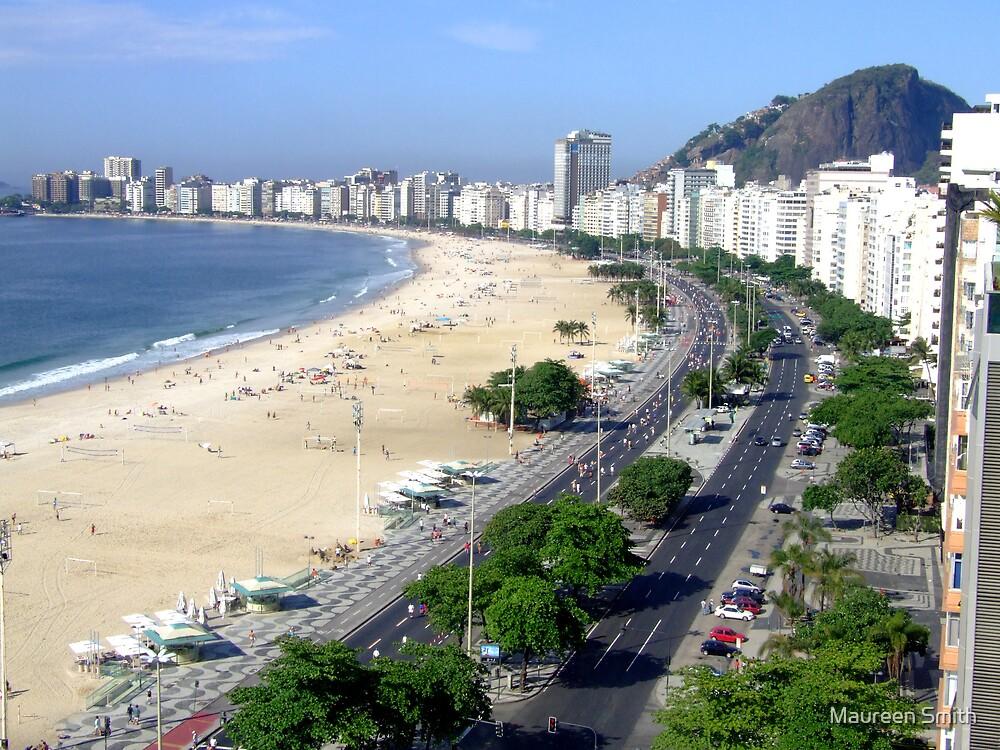 Copacobana Beach, Rio De Janiero, South America by Maureen Smith