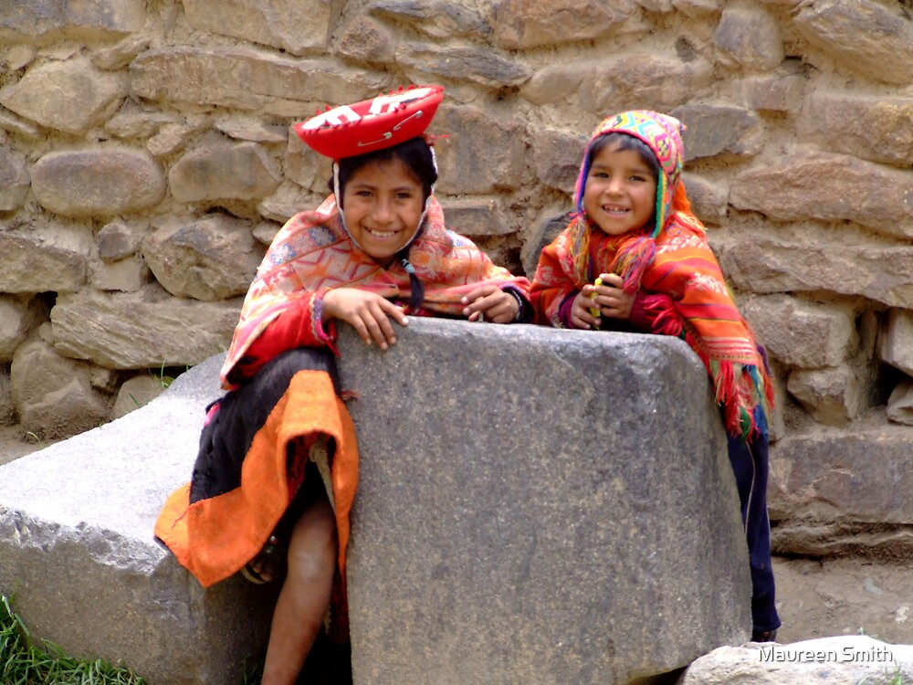 Local children at Ollytaytambo, Peru. by Maureen Smith