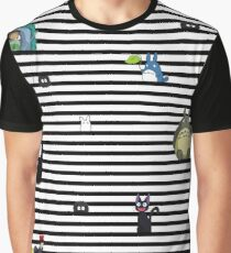 Studio Ghibli-My Neighbor Totoro, Kiki's Delivery Service, and Spirited Away-Striped Graphic T-Shirt