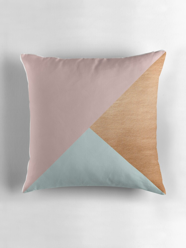 Rose Colored Sofa Pillows Pastel Pink Mint And Rose Gold Modern Triangle  Piece Throw