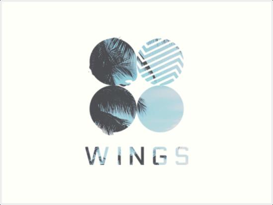 bts wings logo art prints by kpopl redbubble