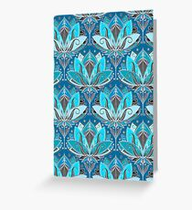 Art Deco Lotus Rising - black, teal & turquoise pattern Greeting Card