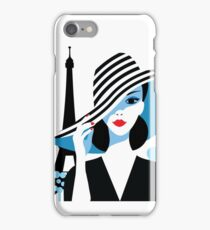 Stylish beautiful model for fashion design. Art deco graphic illustration. Portrait of pretty girl on sea. Elegant striped vector style. iPhone Case/Skin