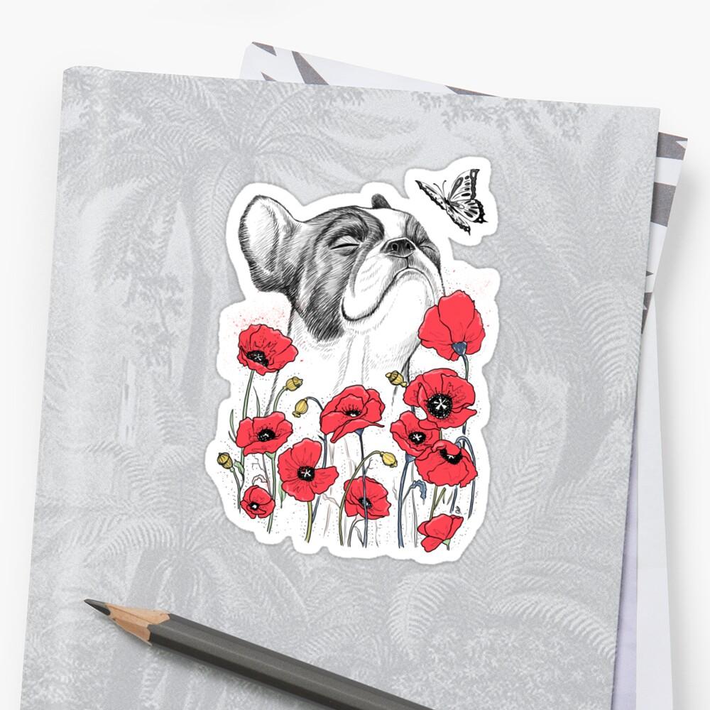 Pug in flowers Sticker