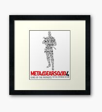 Metal Gear Solid 4: Guns of the Patriots - Old Snake - Typography  Framed Print