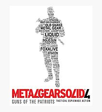 Metal Gear Solid 4: Guns of the Patriots - Old Snake - Typography  Photographic Print