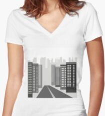 gray skyscrapers Women's Fitted V-Neck T-Shirt