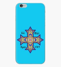 Coptic Orthodox Cross with text on blue iPhone Case