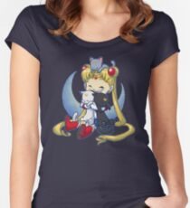 Crazy Moon Cat Lady Women's Fitted Scoop T-Shirt