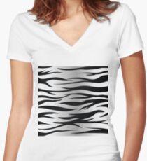 zebra skin Women's Fitted V-Neck T-Shirt