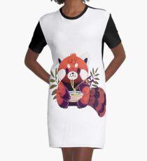 Vestido camiseta Panda rojo comiendo ramen