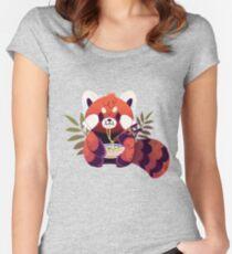 Red Panda Eating Ramen Women's Fitted Scoop T-Shirt