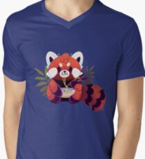 Red Panda Eating Ramen Men's V-Neck T-Shirt