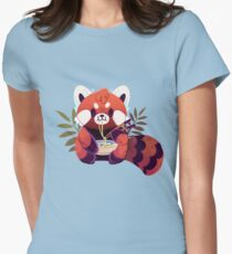 Red Panda Eating Ramen Womens Fitted T-Shirt