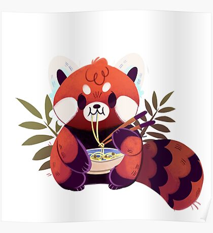 Red Panda Eating Ramen Poster