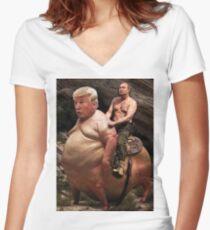 Putin riding Trump Women's Fitted V-Neck T-Shirt