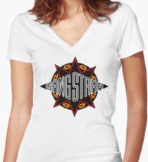 Gang Starr high quality logo Women's Fitted V-Neck T-Shirt