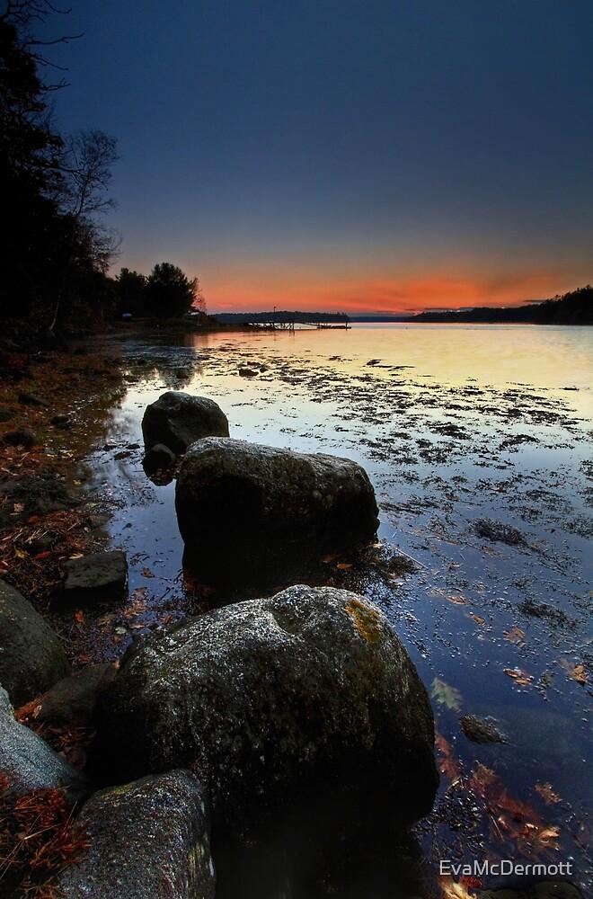 Autumn Sunset Back River by EvaMcDermott