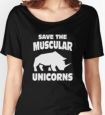 Funny Save The Not Chubby But Muscular Unicorn T shirt Women's Relaxed Fit T-Shirt