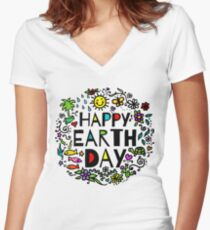 Happy Earth Day Women's Fitted V-Neck T-Shirt