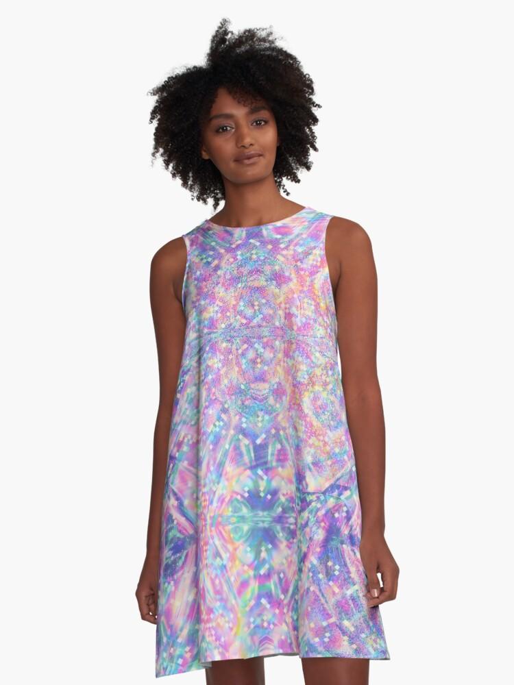 Pastel Holographic A-Line Dress Front