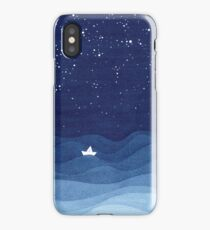 blue ocean waves, sailboat ocean stars iPhone Case/Skin