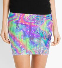 Psychedelic Holographic Texture Mini Skirt
