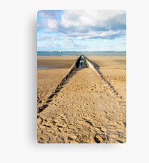 Breakwaters on the beach Metal Print