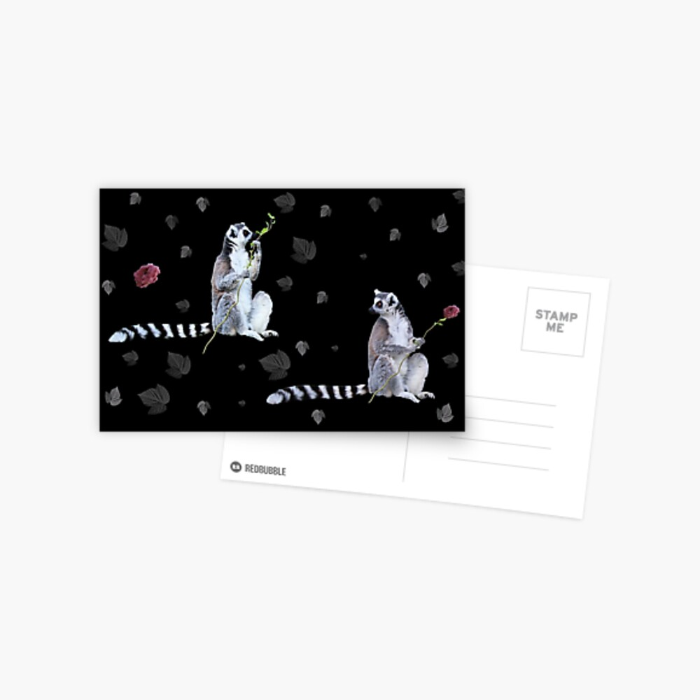 Cute Lemur and flowers Postcard