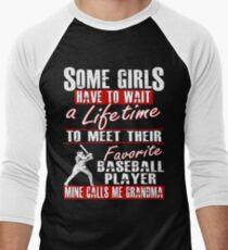 My Favorite Baseball Player Calls Me Grandma Men's Baseball ¾ T-Shirt