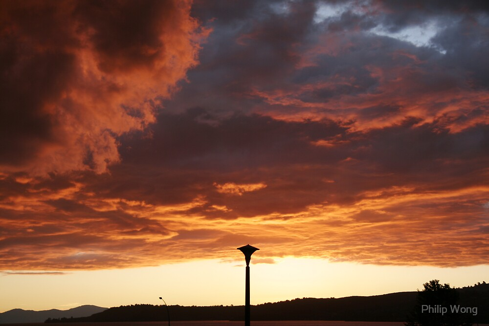 Sunset Sky over Lake Taupo by Philip Wong