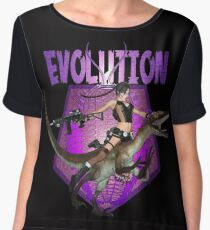 Dinosaur Girl Reptile Evolution Chiffon Top