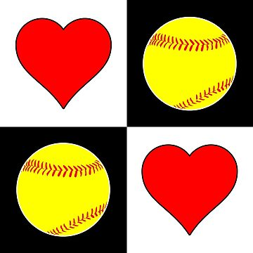Softballs & Hearts Cute Checkered Pattern by BillyBoomstick