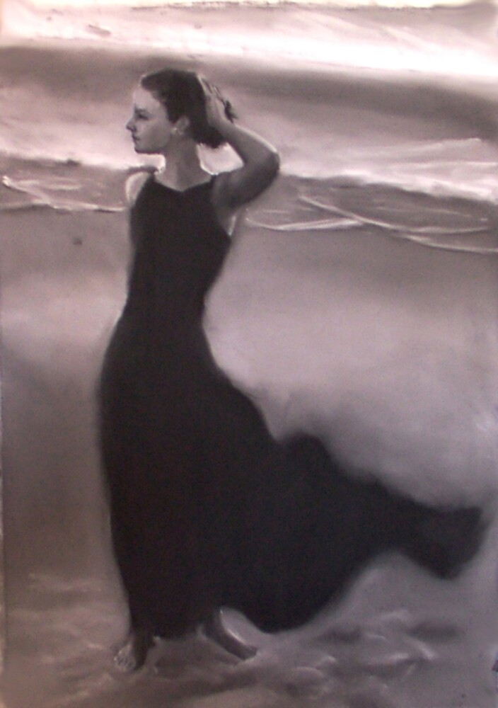 Lisa (Charcoal and chalk on paper.) by Paul Douglas Robertson