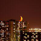 Moon over Etobicoke, Ontario, Canada by Larry Llewellyn